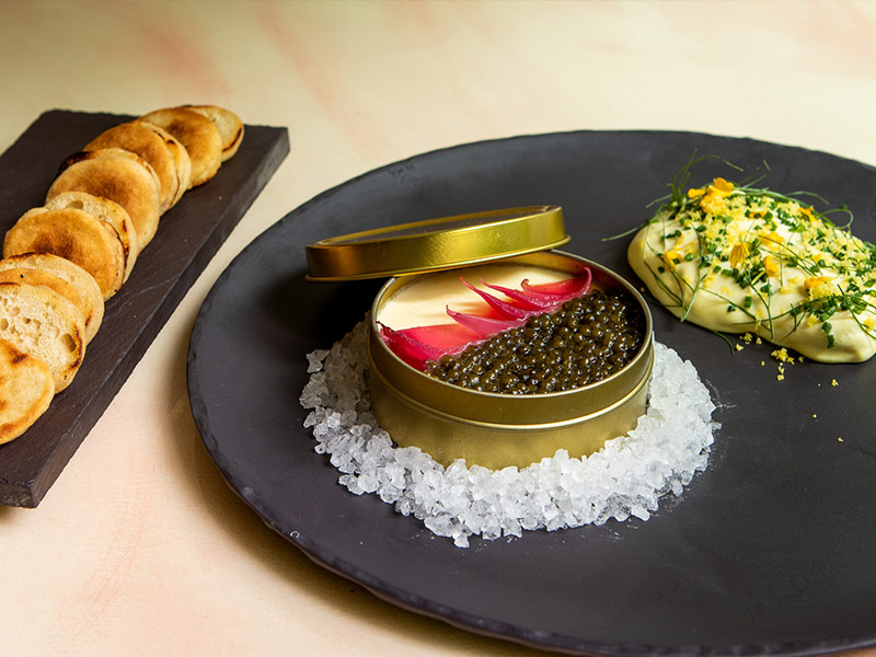 Caviar and Custard served at Brennan's Restaurant