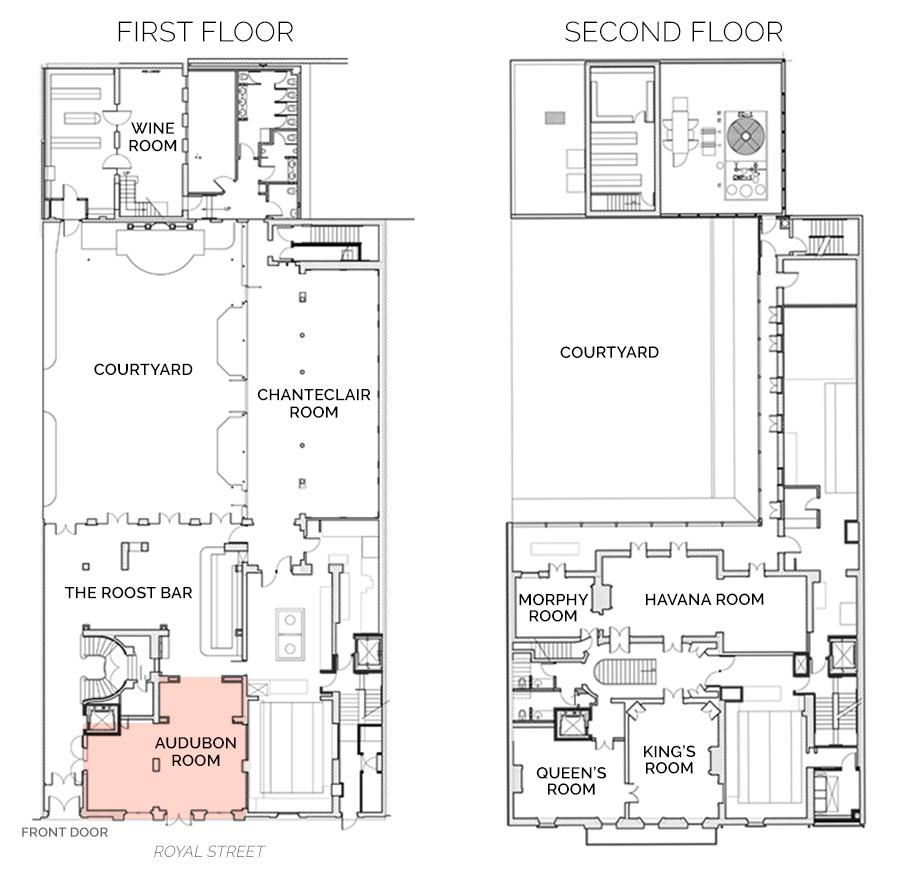 Floorplan showing Audubon Room on First Floor