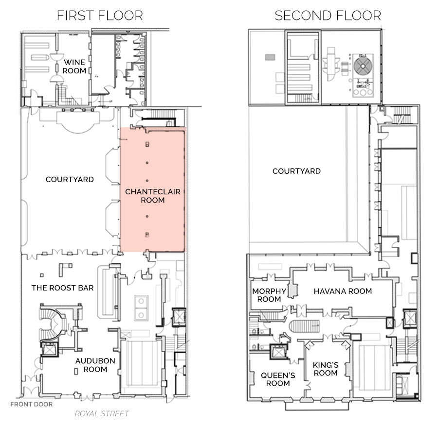 Floorplan showing Chanteclair Room on First Floor