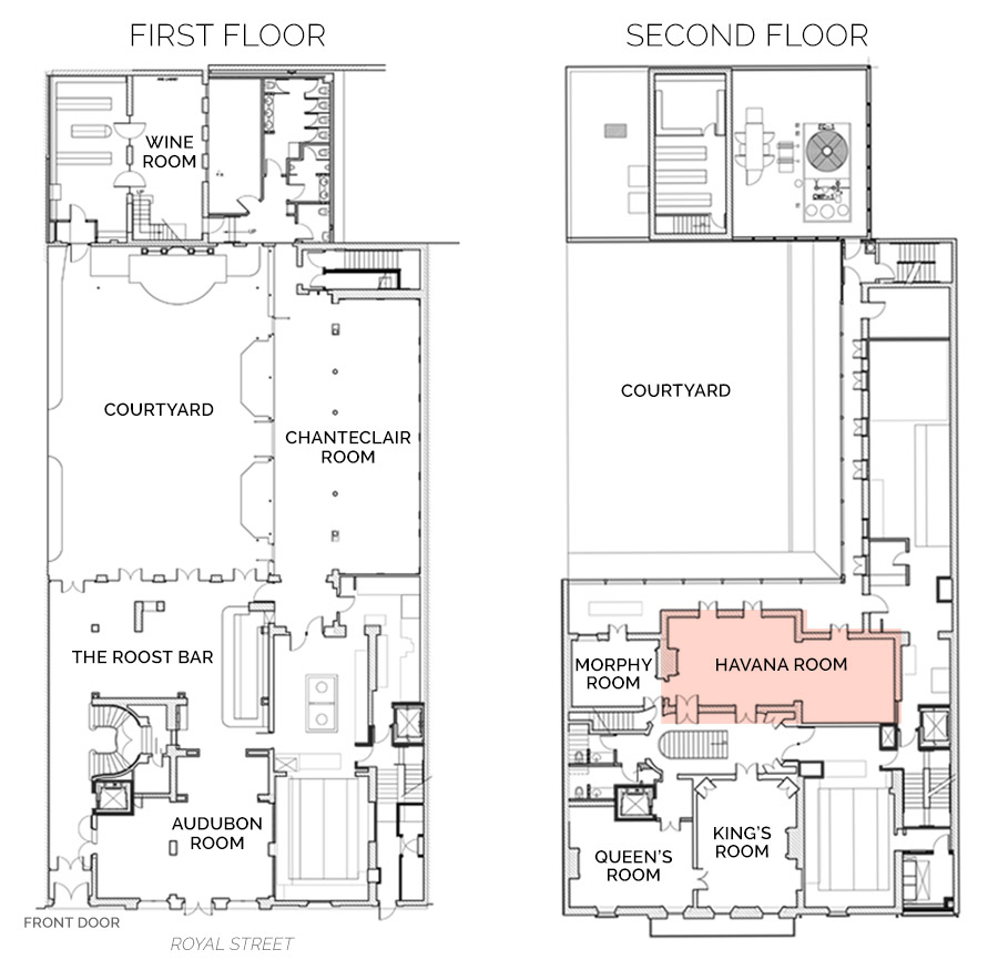 Floorplan showing Havana Room on First Floor