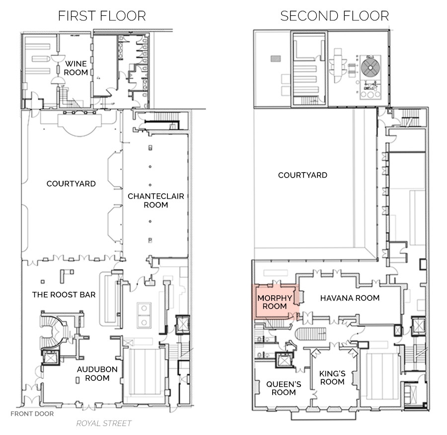 Floorplan Showing Morphy Room on Second Floor
