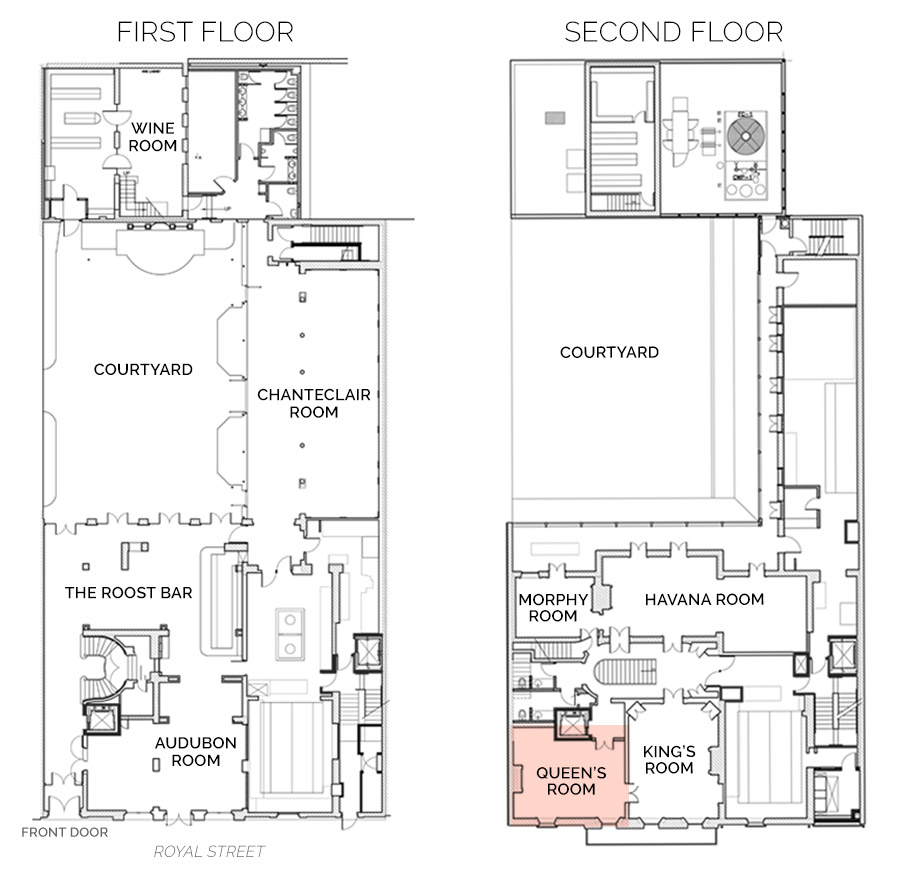 Floorplan showing Queens Room on Second Floor