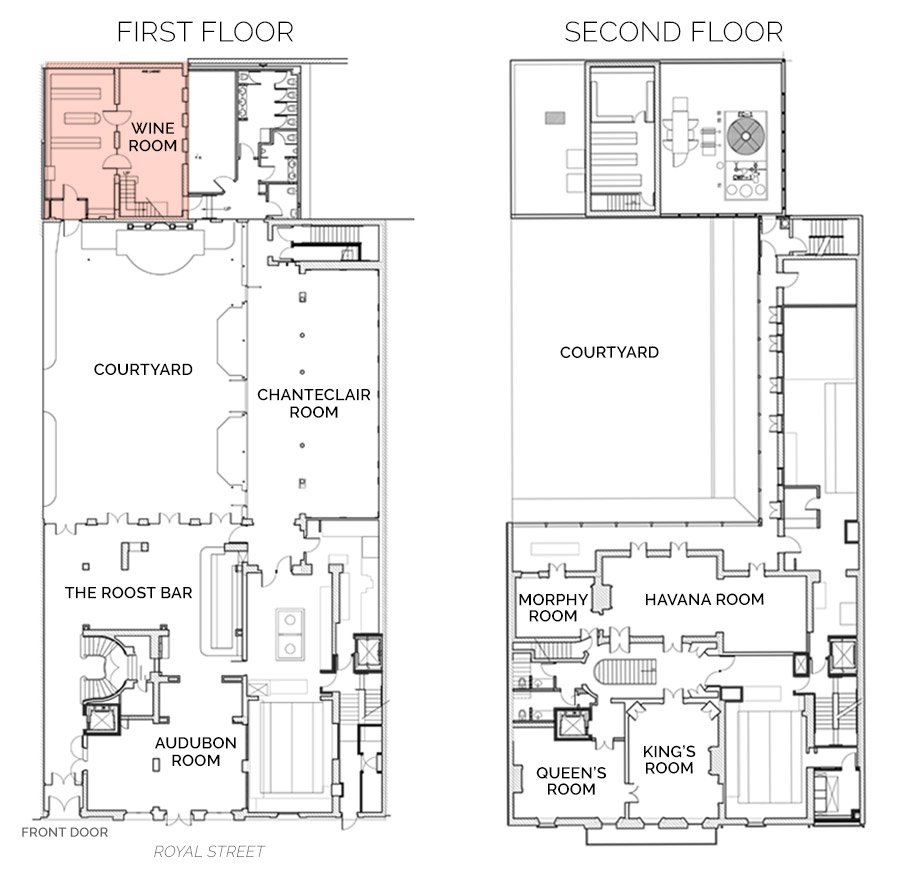 Floorplan showing Wine Room on First Floor