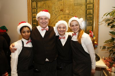 Staff in Santa hats
