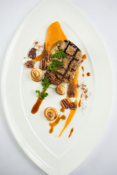 "Grilled Foie Gras and ""Sweet Potato Casserole"""