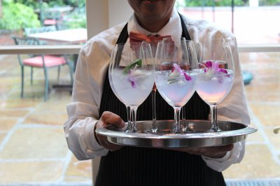 Server with Welcome Cocktails