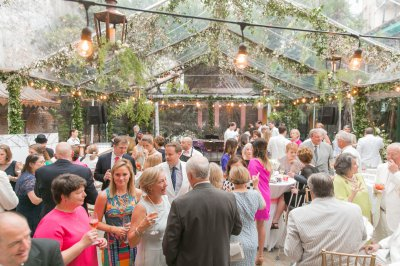 Guests celebrating in the courtyard