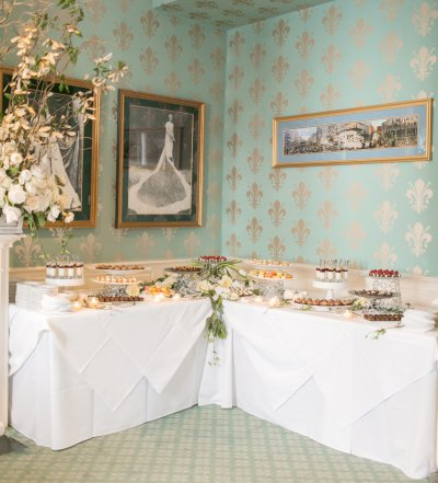 A dessert station in the Queen's Room