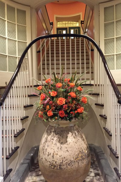 Flowers at bottom of stairs
