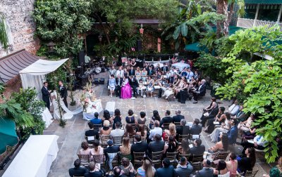 An overhead look of a courtyard wedding