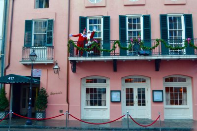 Elf on the Shelf and Santa on balcony