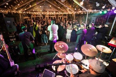 Band performing at wedding reception