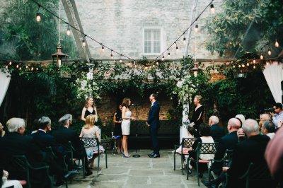 Ben & Lindsey's tented courtyard wedding