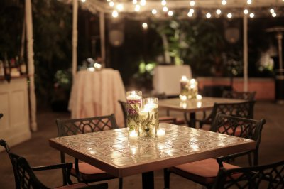 Tented rehearsal dinner reception