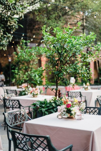 Pastel and bright colors for a spring reception