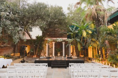 Stage and chairs set up for a ceremony
