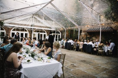 Seated dinner in the courtyard