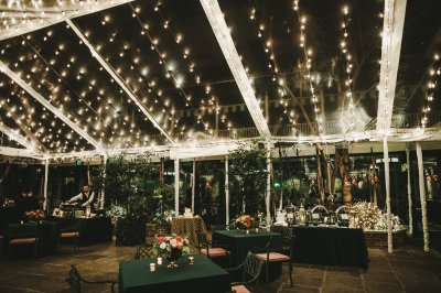 Courtyard at night set up for a reception