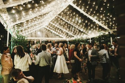 Guests mingle in the courtyard